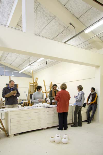 Lecturers and students in the Painting Studio: Photograph by Gerhardt Coetzee
